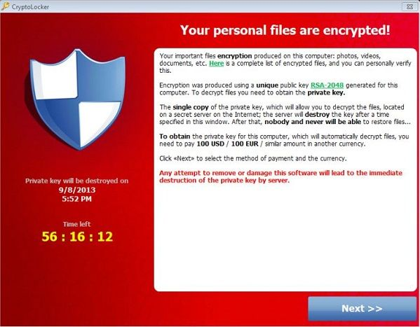 Screenshot of a cryptolocker: note that the ransom is to be paid in dollars.