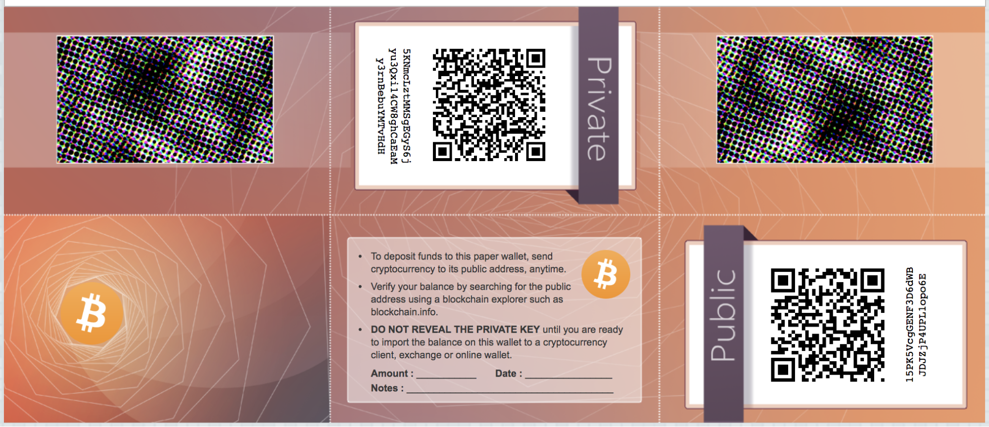 Example of a paper wallet