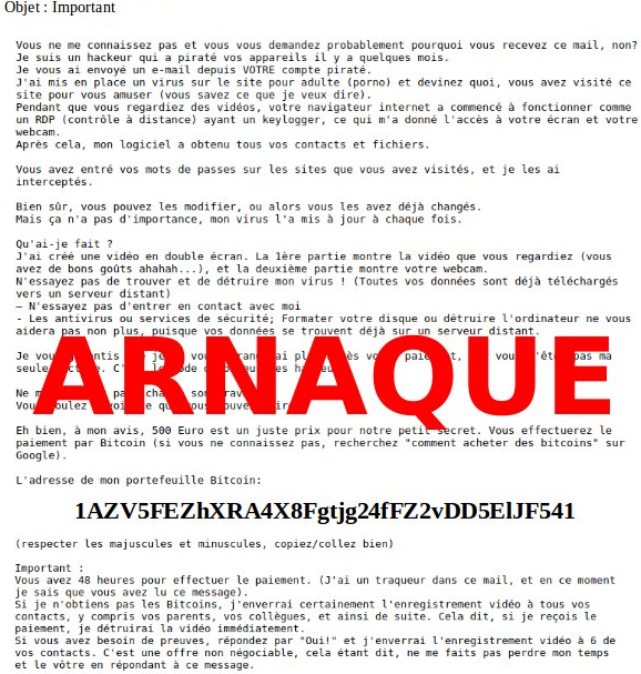 Exemple de courrier d'extorsion